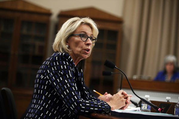 U.S. Secretary of Education Betsy DeVos testifies during a hearing on the proposed Department of Education budget.