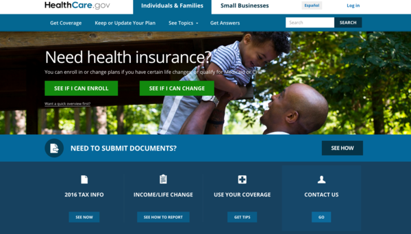 A screenshot of HealthCare.gov