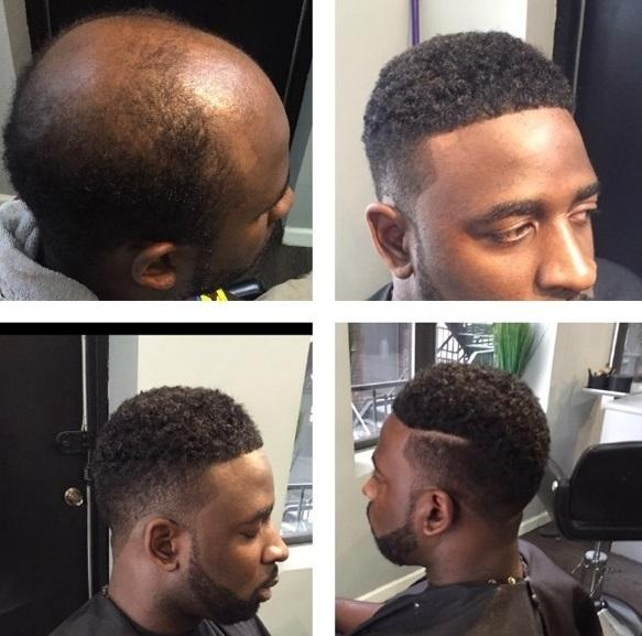 Kevin Johnson sports a man weave installed by barber stylist John Cotton of LW Salon in New York City.