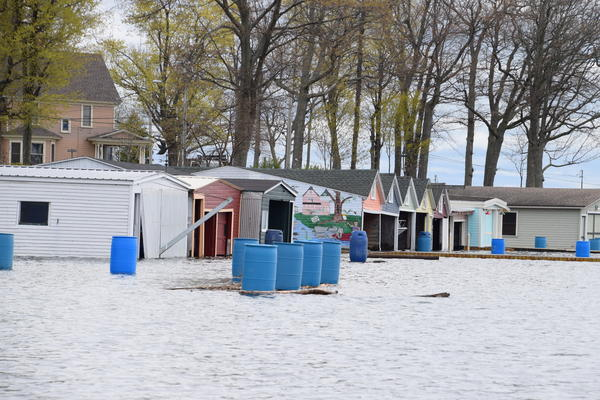 Boathouses under water on Wellesley Island