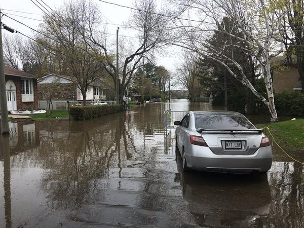 Flooded street in Montreal