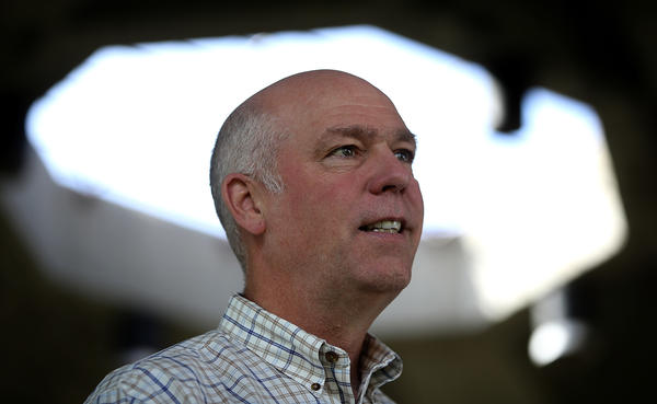 Republican congressional candidate Greg Gianforte speaks to supporters during a campaign stop at Lions Park on Tuesdayin Great Falls, Mont.