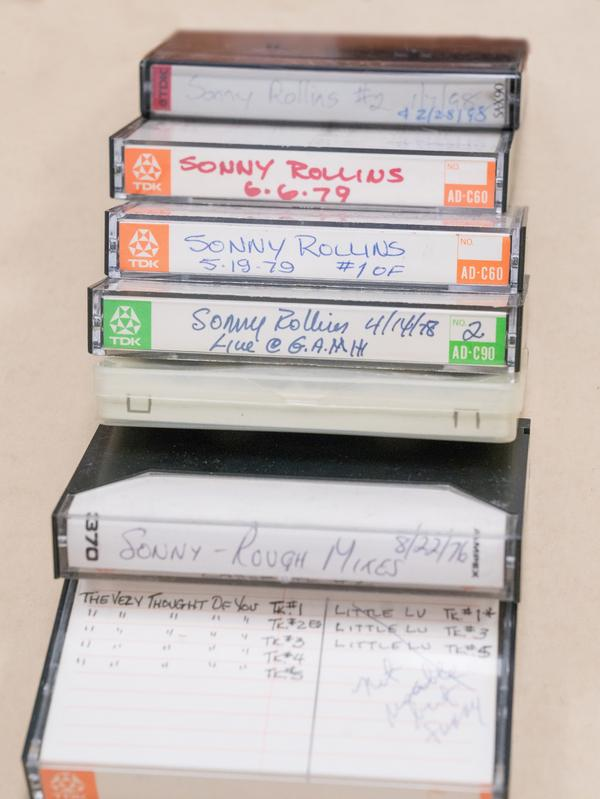 Cassettes from the Sonny Rollins archive.