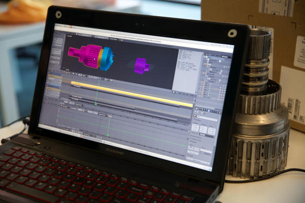<p>Designers 3D scan the transmission and create a virtual transmission using the CGI software.</p>