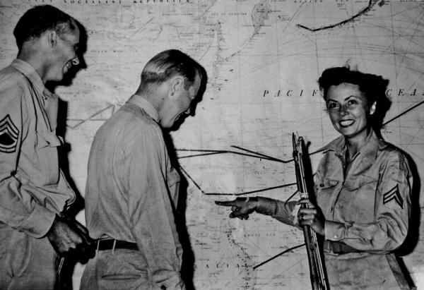 """Cpl. Margaret Hastings (right), the lone female survivor, was a media favorite. At a press conference after the rescue she quipped, """"I'd like a shower and a permanent."""""""