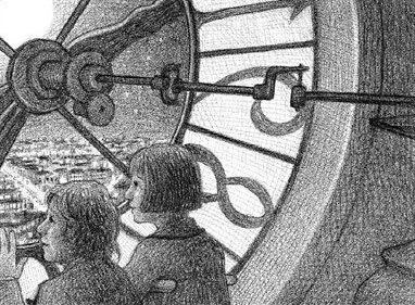 Hugo and Isabelle look out over Paris from behind a clock face in Selznick's <em>The Invention of Hugo Cabret.</em>