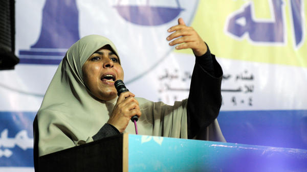 Many Egyptian women hoped to make political gains following the country's revolution. But female candidates fared extremely poorly in the recent parliamentary elections. Here, Huda Ghaniya of the Democratic Alliance, an Islamist grouping, campaigns last Nov. 11.