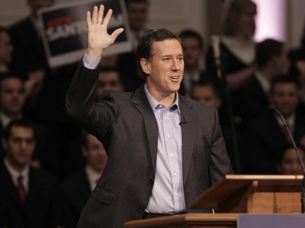 Republican presidential candidate Rick Santorum, shown at Temple Baptist Church in Powell, Tenn., on Wednesday, says John F. Kennedy set the foundation for expelling faith from politics.