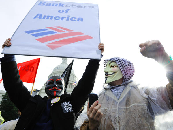 Occupy D.C. protesters chant slogans against Bank of America during a Jan. 17 demonstration in front of the U.S. Capitol.