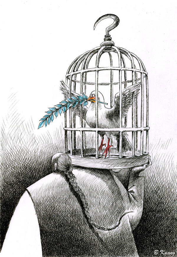 Newspaper cartoonist Kuang Biao publishes some of his more provocative images online, where there is relatively more freedom of expression. This cartoon refers to Liu Xiaobo, winner of the 2010 Nobel Peace Prize and political activist, who was barred from accepting his award and remains imprisoned in China.
