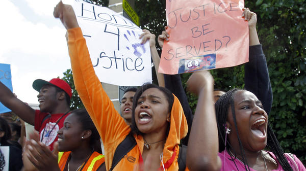 Michael M. Krop Senior High School students chant during a rally demanding justice for Trayvon Martin, on Friday.