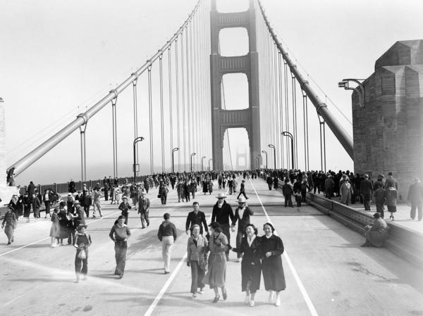 More than 200,000 people crossed the bridge the day it opened in 1937. Many walked. Others ran, tap-danced, roller-skated, unicycled, or strode on stilts.