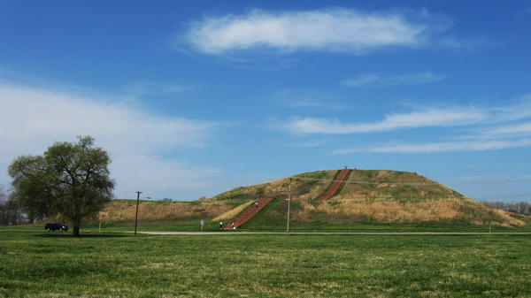 Rising 100 feet above the ground, Monks Mound is the tallest of the 80 or so mounds remaining at the Cahokia Mounds State Historic Site in Illinois. Around 900 years ago, it was a carefully maintained earthen pyramid, supporting a large wooden temple that would have been several stories high. Cahokia'€™s leader may have lived here.