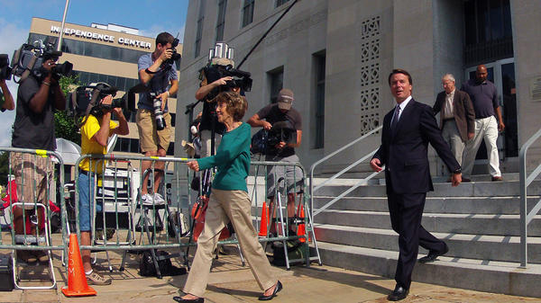 Former Sen. John Edwards leaves the federal courthouse in Greensboro, N.C., on Tuesday.