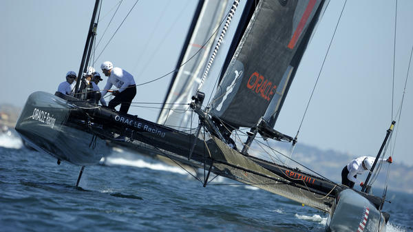 The Oracle Racing AC45 catamaran skipped by James Spithill competes in the America's Cup World Series in Cascais, Portugal in August 2011. The Oracle Team USA sailors are also competing in the final leg of this year's regatta in Newport, R.I.