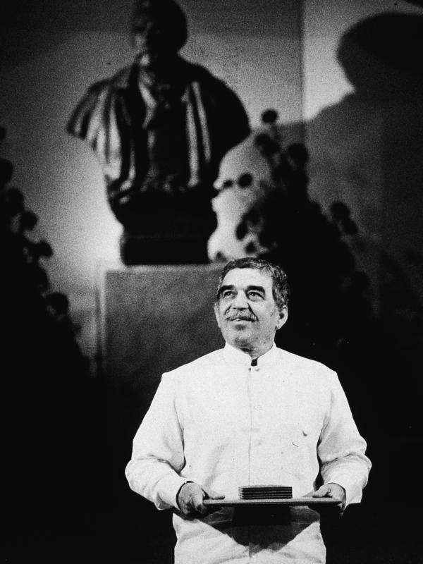 "Colombian author Gabriel Garcia Marquez was awarded the 1982 Nobel Prize in literature ""for his novels and short stories, in which the fantastic and the realistic are combined in a richly composed world of imagination, reflecting a continent's life and conflicts""."