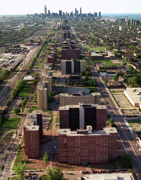 Two miles of 16-story towers, including the Robert Taylor homes in the foreground, stretch toward the Chicago skyline in 1996. They have since been torn down.