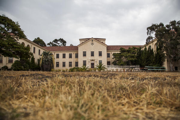 The 388-acre campus of the Veterans Affairs Medical Center in West Los Angeles was donated to the federal government more than 100 years ago for use as a home for disabled veterans, but is no longer used for that purpose. In 2007, Building 209, pictured here, was designated as a place to house disabled homeless vets. It is currently abandoned.