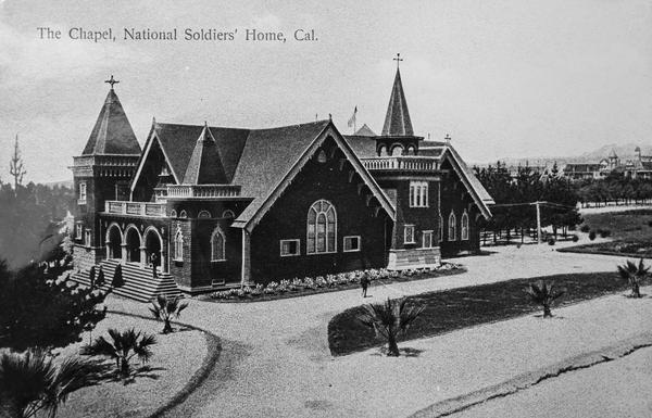 The chapel, seen circa 1900, was used for religious services, weddings, substance abuse counseling and funeral rites by both veterans and members of the local community until a 1971 earthquake made the building unsafe for use. It is currently deteriorating, although the VA hopes to save it.