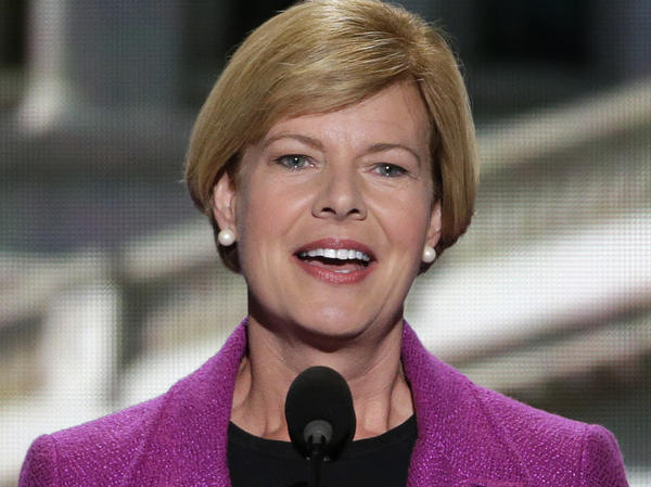 U.S. Rep. Tammy Baldwin addresses the Democratic National Convention in Charlotte, N.C., earlier this month. Baldwin was once considered the underdog in the race for retiring Democrat Herb Kohl's Senate seat, but now polls show her leading Tommy Thompson.