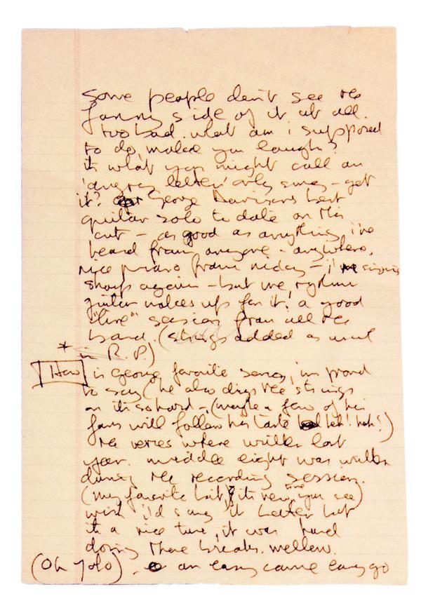 Unused notes for the<em> Imagine</em> album, 1971