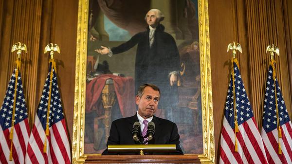 House Speaker John Boehner, seen last week, discusses the looming fiscal cliff.