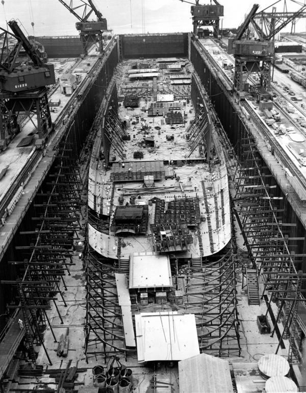 The Enterprise under construction in 1958.
