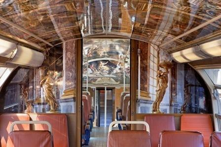 One of the new Versailles commuter trains in France. The cars' interiors are painted to resemble rooms in the Palace of Versailles outside Paris.