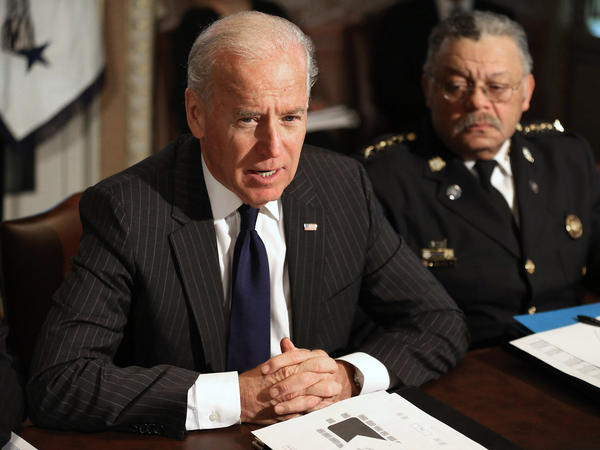 Vice President Joe Biden leads the first meeting of the working group to explore solutions following the Newtown shooting with Philadelphia Police Commissioner Charles Ramsey and other law enforcement leaders on Dec. 20.