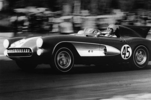 Washington, D.C., dentist Richard K. Thompson races his 1957 Corvette Stingray at a Maryland track on July 31, 1957. The new 2014 Chevy Corvette revives the long-dormant Stingray name.