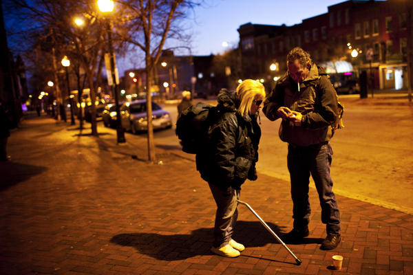Tony Lithgow, 49, and Andrea Mayer, 51, live together on the streets of Baltimore. Researchers say the aging homeless population is due to younger baby boomers who came of age during the 1970s and '80s, when there were back-to-back recessions.