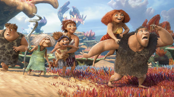 The prehistoric family in <em>The Croods</em> takes a visually stunning but comically tired road trip in the latest outing from DreamWorks Animation.
