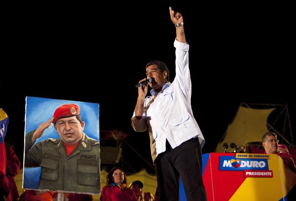 Venezuela's acting president, Nicolas Maduro, speaks during his closing campaign rally in Caracas on Thursday. The hand-picked successor of Hugo Chavez faces opposition candidate Henriques Capriles in snap presidential elections on April 14.