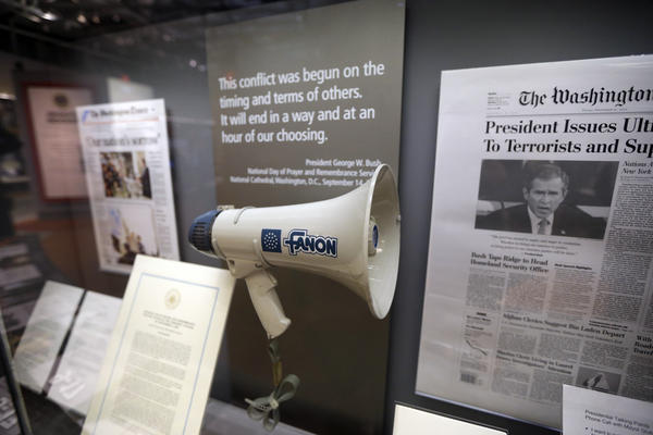 One of the exhibits at the library features the bullhorn President George W. Bush used at ground zero in the wake of the Sept. 11, 2001 terrorist attacks.