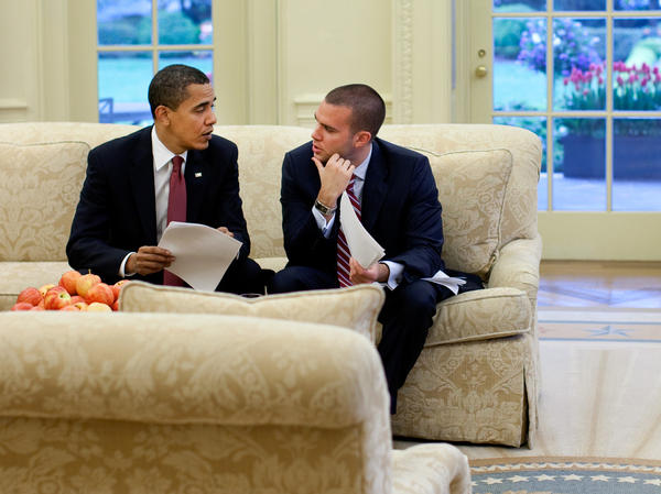 President Obama meets with speechwriter Jon Favreau in the Oval Office in 2009.