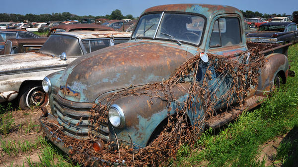 The owner of the dealership wouldn't sell trade-ins or the previous year's model once the new ones came out, keeping most of the old inventory outside. He closed his dealership in 1996 and is just now selling off his collection.