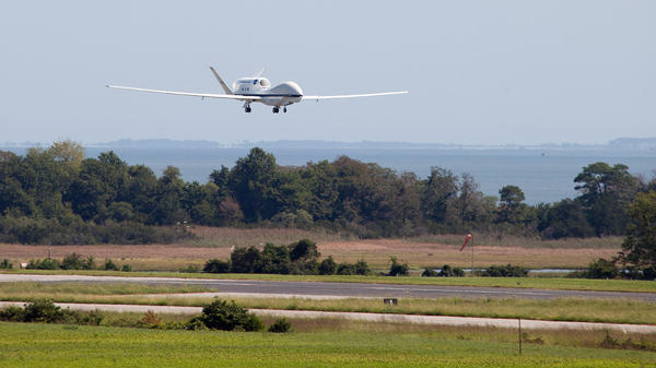 A Global Hawk unmanned aircraft comes in for a landing at the Wallops Flight Facility in Wallops Island, Va., on Sept. 7, 2012, after studying Hurricane Leslie. The remotely controlled planes can stay in the air for as long as 28 hours and fly over hurricanes at altitudes of more than 60,000 feet.