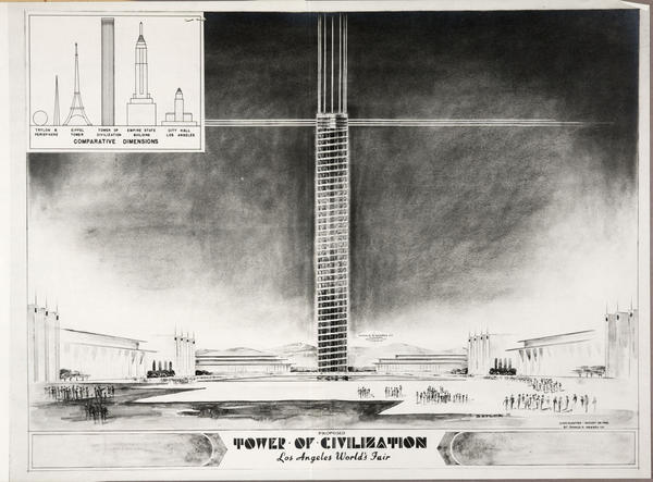 William H. Evans, Tower of Civilization, 1939. At 150 feet in diameter and soaring 1,290 feet, the tower would have been the tallest structure in the world at the time.