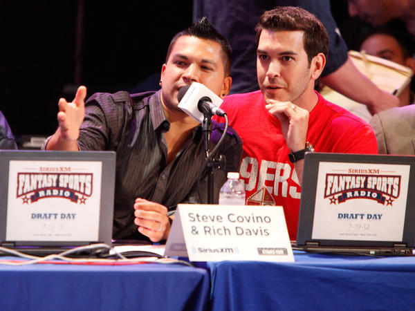 Steve Covino and Rich Davis attend Sirius XM's Annual Celebrity Fantasy Football Draft in New York in 2012.