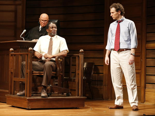 Fred Dalton Thompson, John Douglas Thompson and Sebastian Arcelus in a scene from the Broadway adaptation of <em>A Time to Kill</em>.