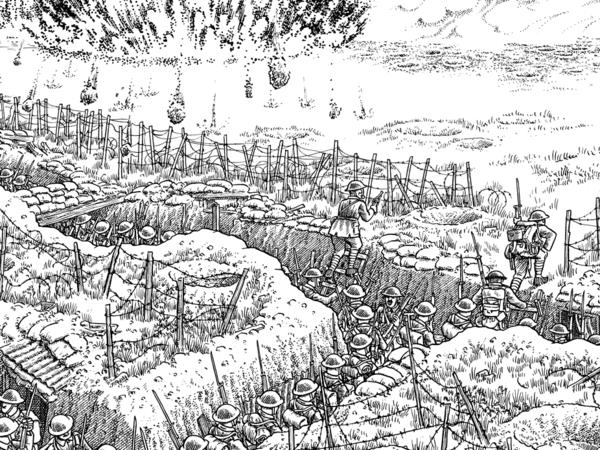 Detail from Plate 11 of Joe Sacco's <em>The Great War: July 1, 1916: The First Day of the Battle of the Somme</em>. On July 1st, at precisely 7:30 a.m., the attack commences.