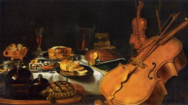 Food and music mingle in Pieter Claesz's <em>Still Life with Musical Instruments</em> (1623).