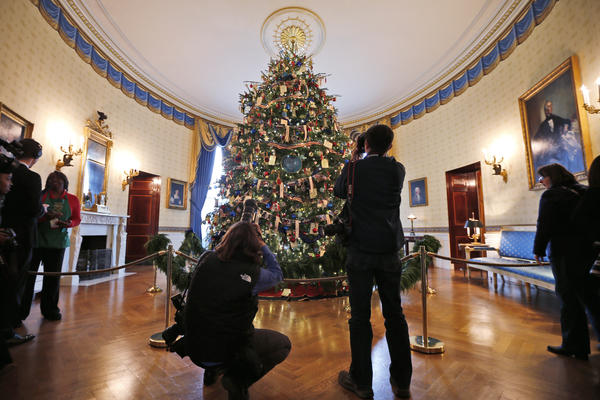 Press photographers take pictures of the White House Christmas Tree in the Blue Room of the White House. The 18.5-foot Douglas fir from Lehighton, Pa., features decorations honoring military families.