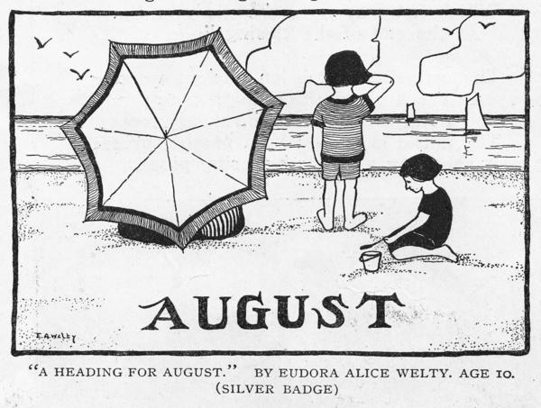"In 1920, <em>St. Nicholas</em> published future novelist Eudora Welty's drawing ""A Heading For August."""