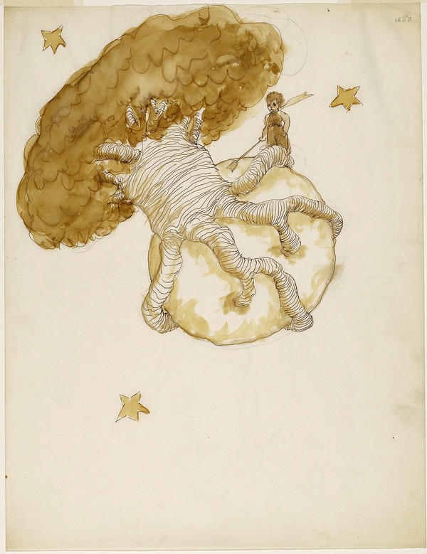 <p>An early illustration for <em>The Little Prince</em> by Antoine Saint-Exupery.</p><p></p>