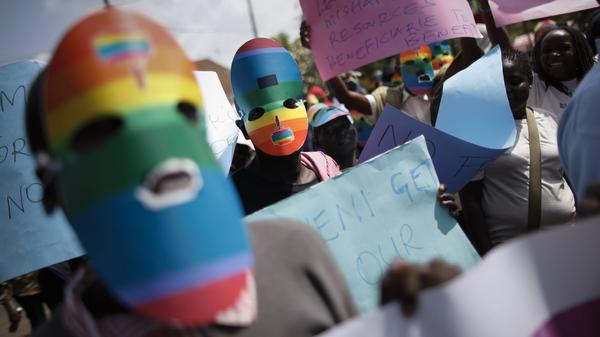Activists protest Uganda's anti-gay legislation in Nairobi, Kenya, this month. LGBT status has been grounds for asylum in the U.S. since 1994, but winning refugee status can be difficult, particularly for people who are unable to obtain visas to the U.S. before applying.