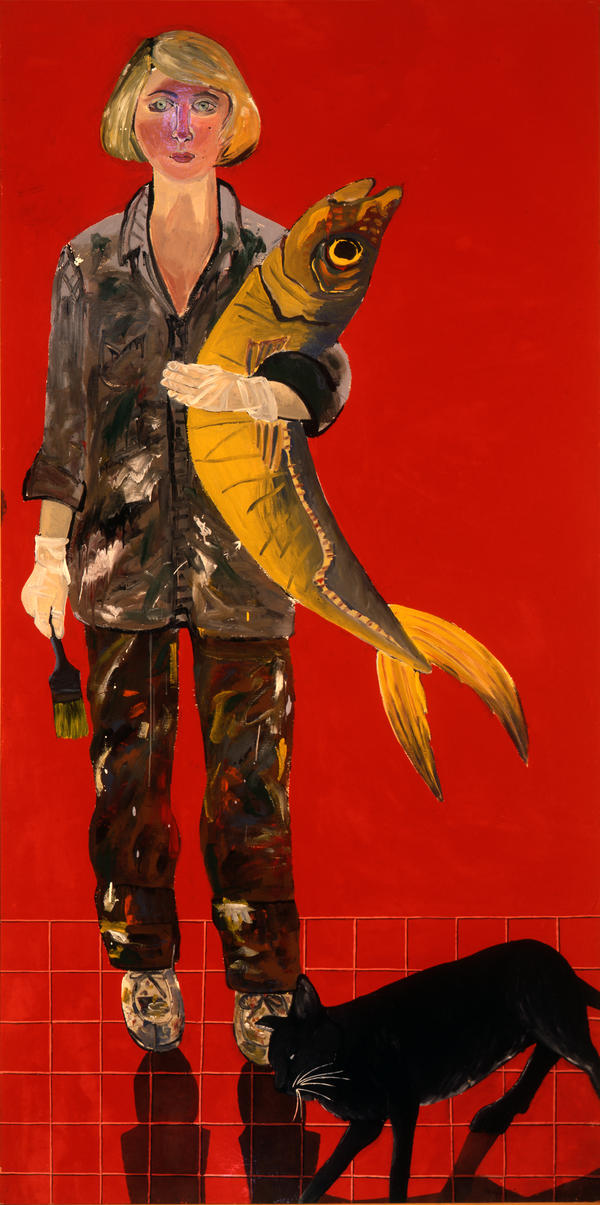 "Joan Brown's 1970 <em>Self-Portrait with Fish and Cat </em>is the first image you see at the National Portrait Gallery's ""Face Value"" exhibit."