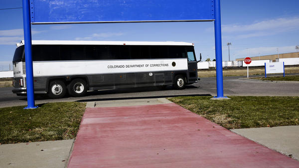 The Colorado Department of Corrections bus carrying John Huckleberry from prison to a local jail where he will be released.
