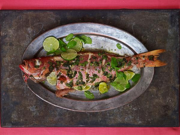 Whole Roast Snapper with Grilled Lime and Mojito Oil.