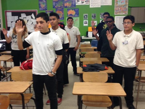"""A jury of 9th-graders is sworn in at a """"teen court"""" session in Michigan."""